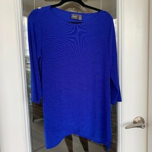 Knit Tunic with 3/4 Sleeves in Royal Blue